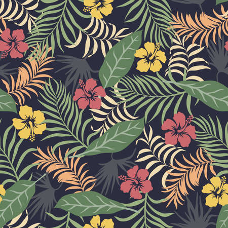 Tropical background with palm leaves and flowers. Seamless floral pattern. Summer vector illustration. Flat jungle print 矢量图像