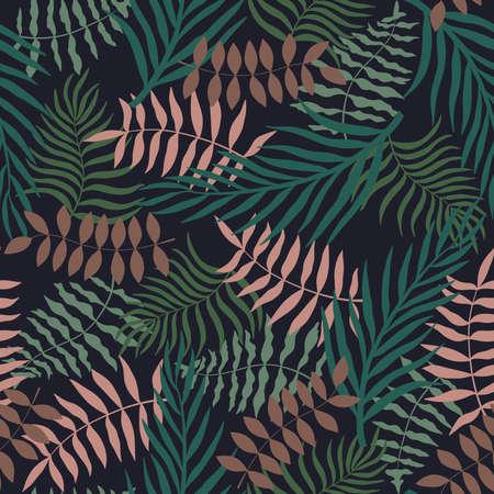 Fondo tropical con hojas de palmera. Patrón floral transparente. Ilustración de vector de verano. Estampado de jungla plano