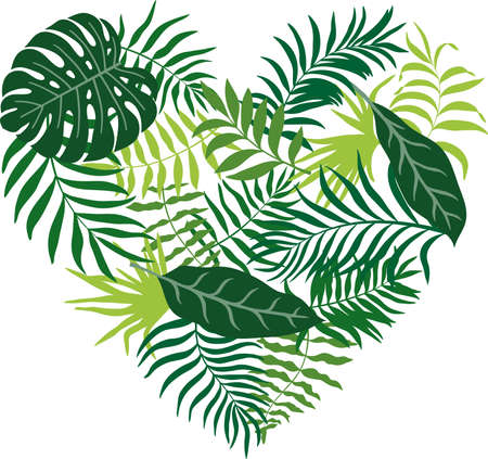 Vector illustration with tropical leaves drawn in the shape of a heart. Without background Ilustração