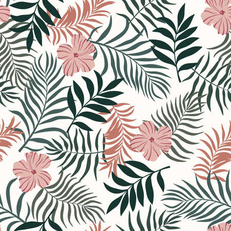 Tropical background with palm leaves and flowers. Seamless floral pattern. Summer vector illustration 向量圖像