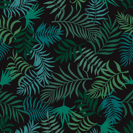 Tropical background with palm leaves. Seamless floral pattern. Summer vector illustration