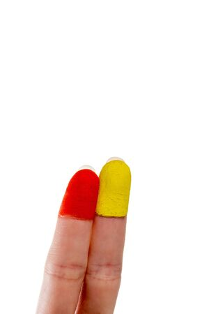 two fingers: Two Fingers with painted finger tips Stock Photo