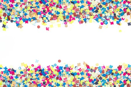 bank note: colourful confetti for birthday cards forming bordure Stock Photo