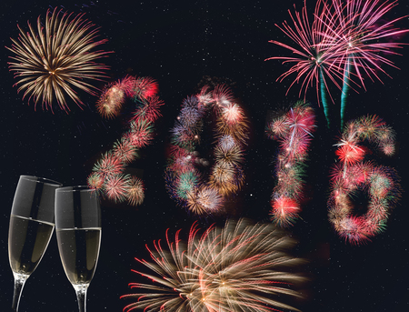 Champagne Glasses and Fireworks 2016 on sky