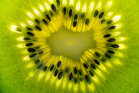 actinidia deliciosa: Detail of kiwifruit as slices