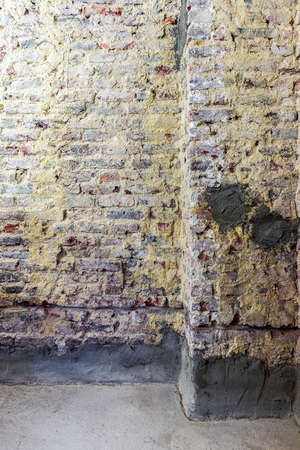 restauration: Old brick walls in a building prepared for restauration and renovation