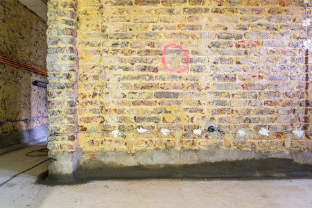 modernise: Old brick walls in a building prepared for restoration and renovation