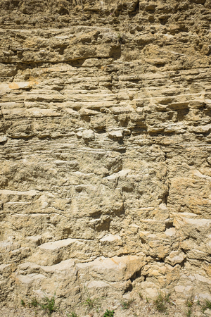 Closeup of mudstone and limestone outcrop with partly intertwined partly alternating thin und thick bedding