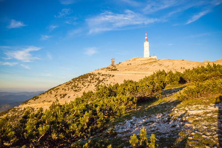 View over the Mont Ventoux during beautiful sunset in summer Stock Photo