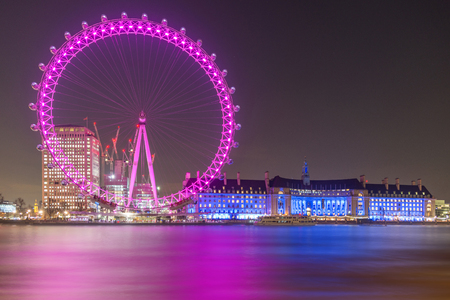 river: Cityscape of London with illuminated London big giant wheel and River Thames at night