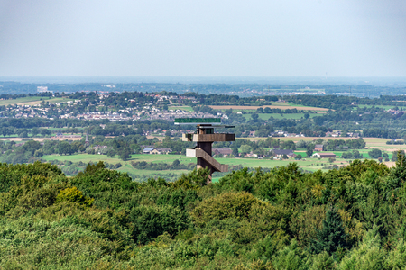Cityscape of Aachen Vaals with observation tower and surrounding landscape taken from above as background 스톡 콘텐츠