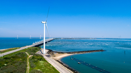 Oosterschelde flood barrier in the Netherlands at the Northern Sea taken from above