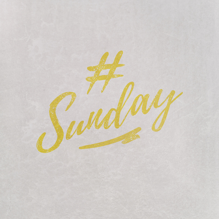 # Hashtag Sunday written in orange on grey background as template in handwritten style