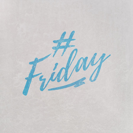 # Hashtag Friday written in orange on grey background as template in handwritten style