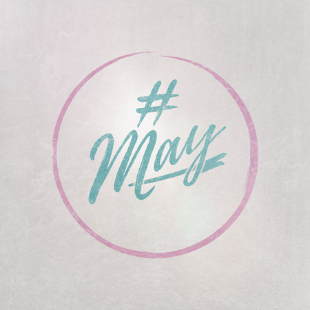# Hashtag May written in blue on grey background as template in handwritten style