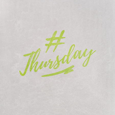 # Hashtag Thursday written in orange on grey background as template in handwritten style 写真素材