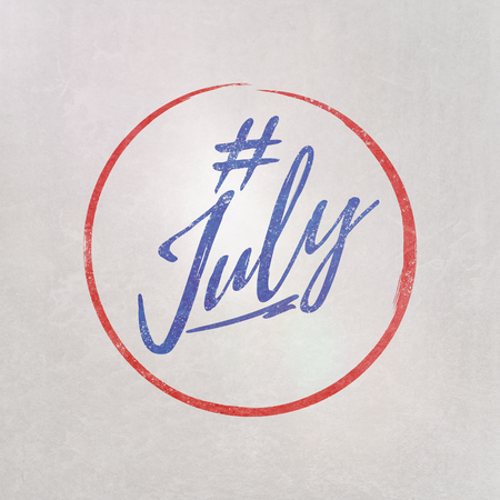 # Hashtag July written in purple on grey background as template in handwritten style 写真素材