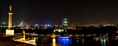 Panoramic view of Danube river at night, Belgrade, Serbia