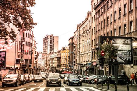 serbia: BELGRADE, SERBIA - SEPTEMBER 23, 2015: Prizrenska Street  in Belgrade, Serbia. Filtered photo with retro effect.