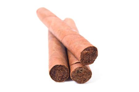 Cuban cigars on white background