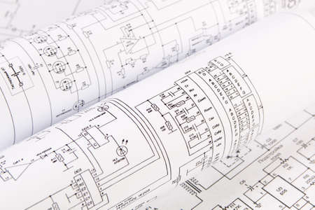Science, technology and electronics. Electrical engineering drawings printing. Scientific development. Stock Photo