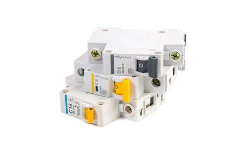Modular circuit breaker on white background. Electrical network protection and switching Stok Fotoğraf