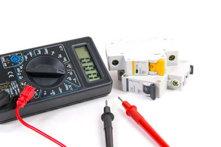 Electrical modular circuit breaker and digital multimeter. Electrical network protection and switching.