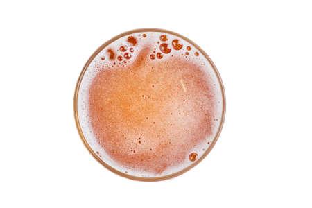 Cerveza en vaso. Espuma de cerveza con burbuja. Vista desde arriba. Foto de archivo
