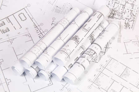 Architectural plan. Engineering house drawings and blueprints. Stok Fotoğraf