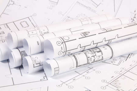 Architektonischer Plan. Technische Hauszeichnungen und Blaupausen.