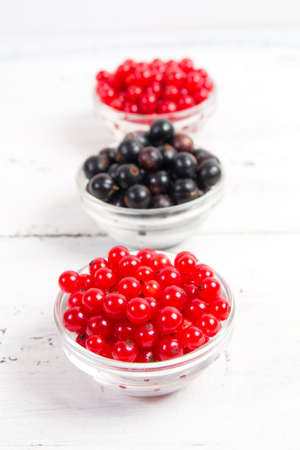 black and red currant on white wooden background