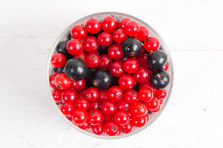 berries of red and black currant close up