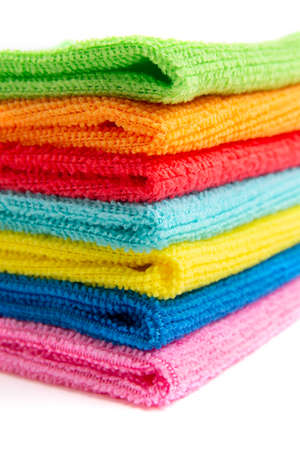 colored microfiber cloths on a white background Фото со стока - 131857758