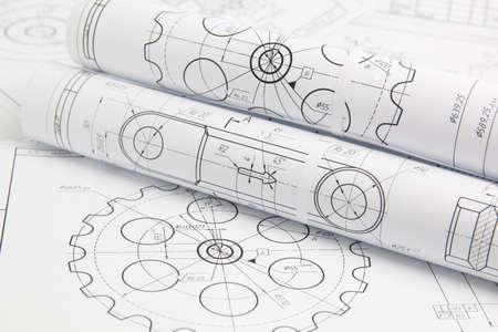 rouleaux de papier dessins techniques des mécanismes et de la machine