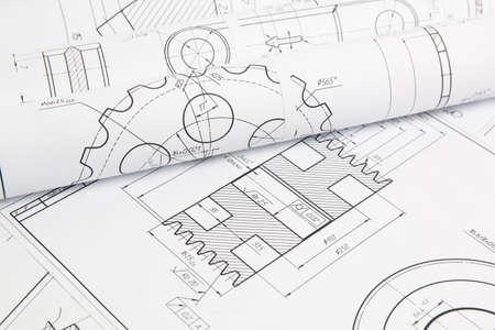 dessins techniques papier de pièces et mécanismes industriels
