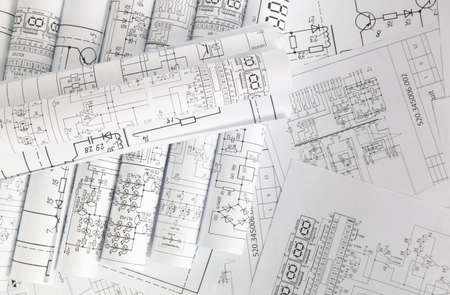 Electronics and Engineering. Printed drawings of electrical circuits. Stockfoto