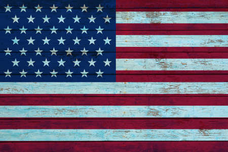 American flag painted on old wooden wall. USA national flag