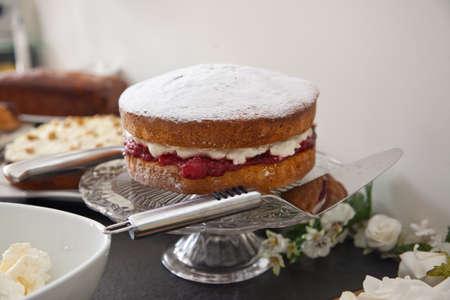 glass plate: Victoria sponge cake on glass plate