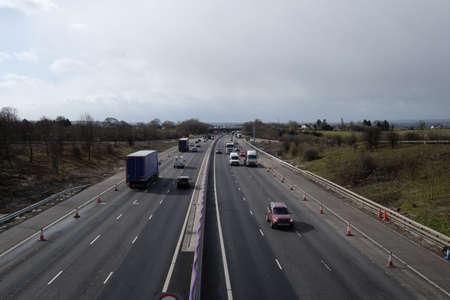 British motorway with roadworks Stock Photo