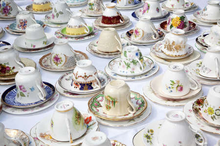 Mixed vintage tea cups and saucers