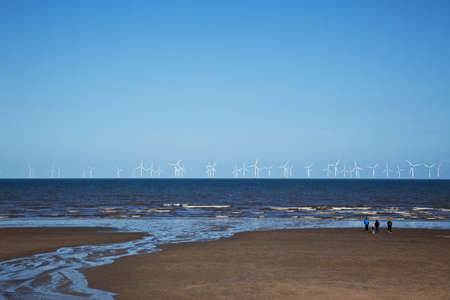 Offshore wind farm wind turbines in North sea