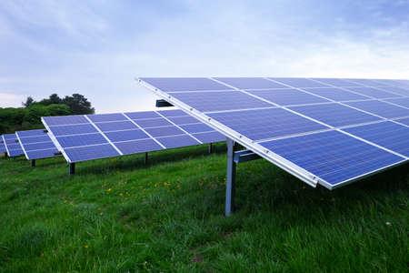 solar array: Photovoltaic array panels at solar farm