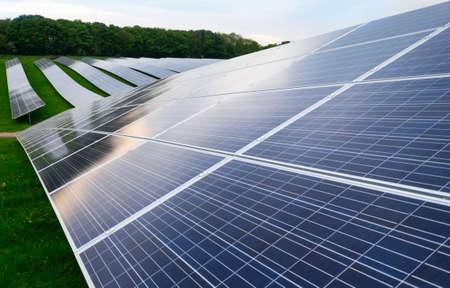 solar farm: Solar farm photovoltaic panels at evening Stock Photo