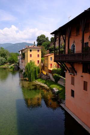 grappa: Bassano del Grappa riverside houses Stock Photo