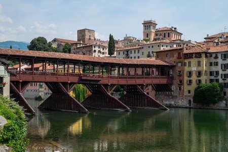grappa: Ponte vecchio the alpini bridge at Bassano del Grappa Editorial