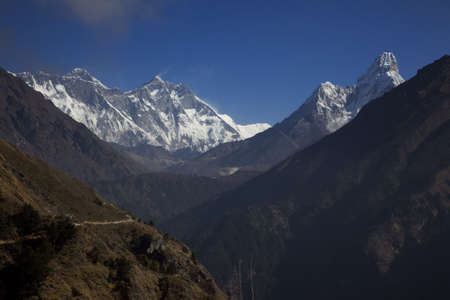 everest: Mount Everest and Ama Dablam from Khumbu valley Stock Photo