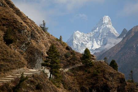 sherpa: Ama Dablam from Khumbu valley, Himalayas