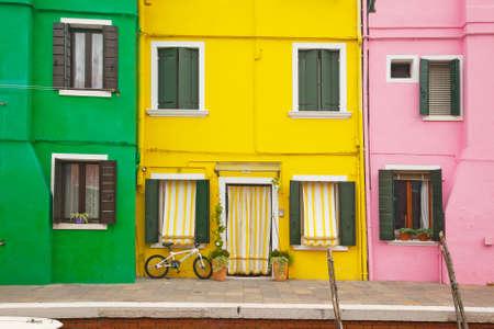case colorate: Case colorate a Burano, Venezia Archivio Fotografico
