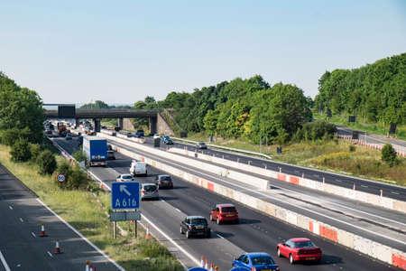 roadworks: UK motorway with roadworks Editorial