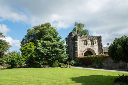 Gatehouse and gardens at Whalley Abbey, Lancashire